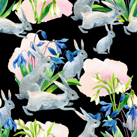 snowdrop: Rabbit in spring. Watercolor spring seamless pattern with bunny and first spring flowers. Hand painted illustration on dark background