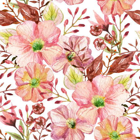 chamomile flower: Seamless pattern with pink flowers. Watercolor hand painted illustration. Stock Photo