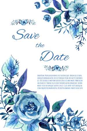 enchanting: Cute invitation with blue flowers. Stylish floral card. Hand painted background in winter colors.