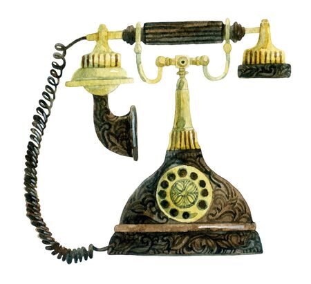 numbers background: Telephone in retro style. Old fashioned phone. Hand painted illustration