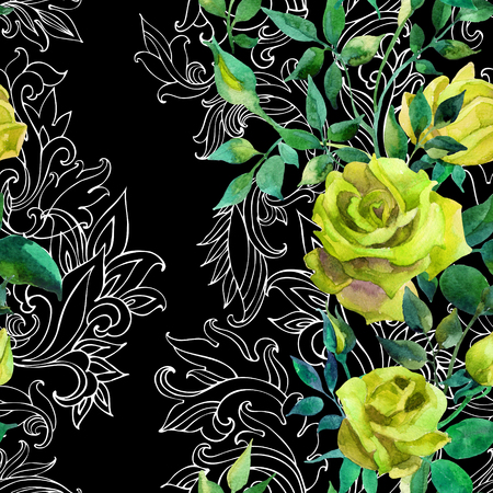 victorian wallpaper: Yellow roses on baroque ornament. Watercolor flowers on indian paisley seamless pattern. Hand painted illustration Stock Photo