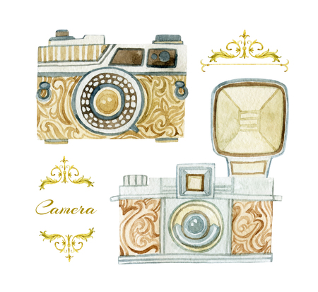 Cameras set in retro style. Old fashioned reflex camera. Hand painted illustration