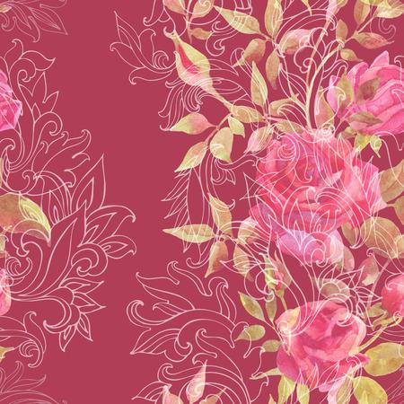 Roze rozen op barok ornament. Waterverfbloemen op het Indische naadloze patroon van Paisley. Handgeschilderde illustratie
