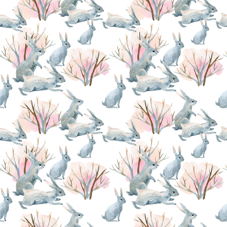running: Rabbit in winter. Watercolor winter seamless pattern with bunny and bushes. Hand painted illustration on white background Stock Photo