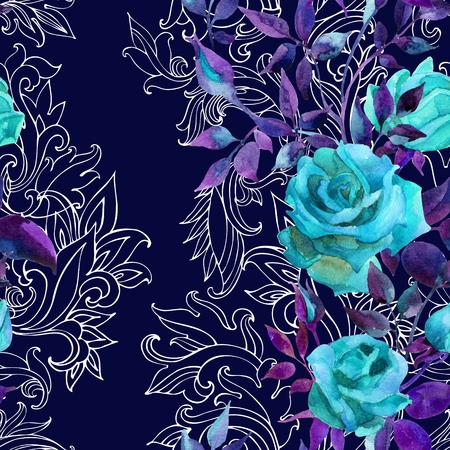 Blauwe rozen op barok ornament. Waterverfbloemen op het Indische naadloze patroon van Paisley. Handgeschilderde illustratie Stockfoto