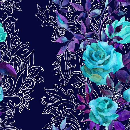 Blue roses on baroque ornament. Watercolor flowers on indian paisley seamless pattern. Hand painted illustration