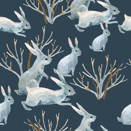 brown hare: Rabbit in winter. Watercolor winter seamless pattern with bunny and bushes. Hand painted illustration on grey background
