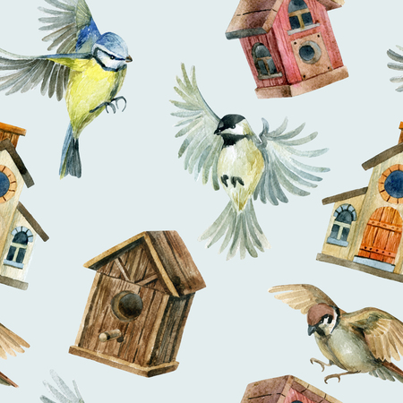 Flying birds and birdhouses seamless pattern Hand painted illustration Stock Photo