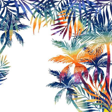 Acuarela Palmeras Al Atardecer. Fondo Tropical En Colores Del Arco ...