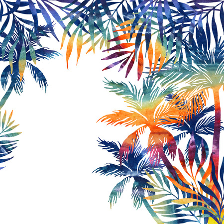 watercolor palm trees on black background. Tropical background in rainbow colors for your design. Hand painted illustration