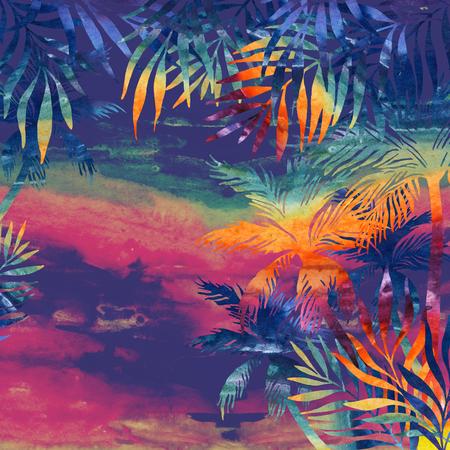 Acuarela palmeras al atardecer. Fondo tropical en colores del arco iris para su diseño. Ilustración pintada a mano Foto de archivo - 81037971
