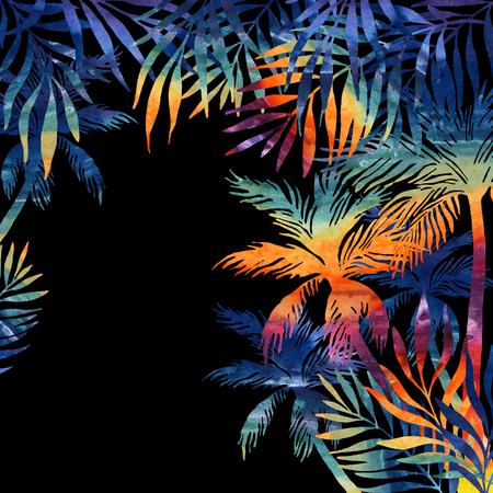 검은 배경에 수채화 팜 나무입니다. 디자인을위한 무지개 색의 열 대 배경입니다. 손으로 그린 그림