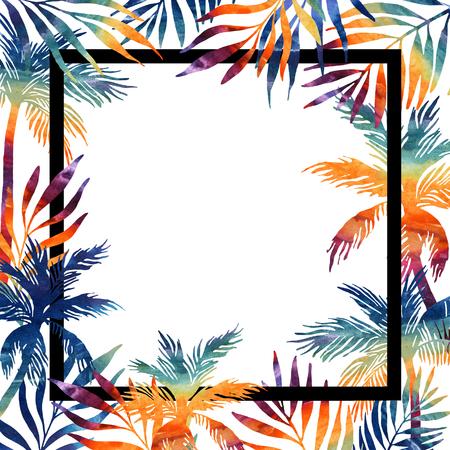 Cornice dell'acquerello di palme. Sfondo tropicale per il vostro disegno Illustrazione dipinta a mano Archivio Fotografico - 81489562