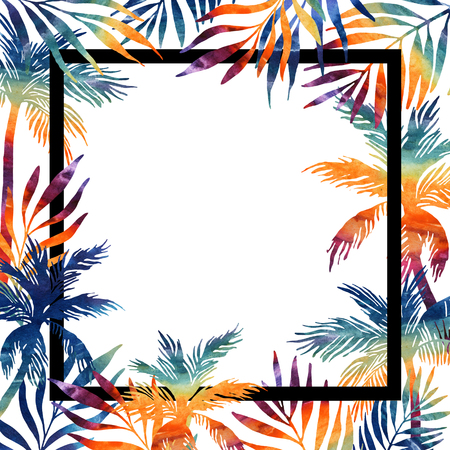 Palm trees watercolor frame. Tropical background for your design. Hand painted illustration
