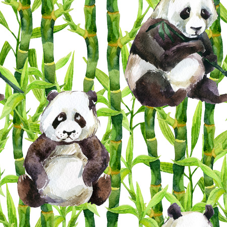 Panda with bamboo watercolor seamless pattern. Hand painted illustration in asian style.