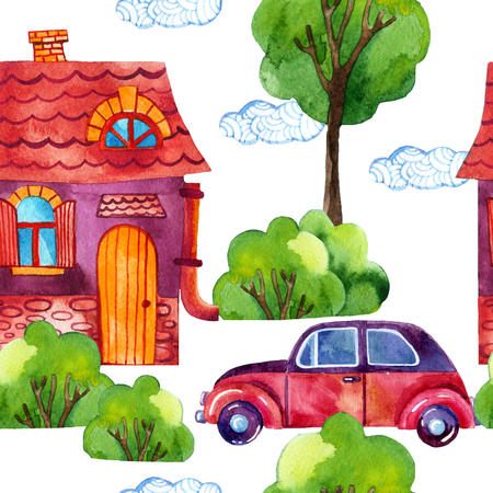 Watercolor cartoon city seamless pattern. Hand painted illustration with house, trees, car on white background