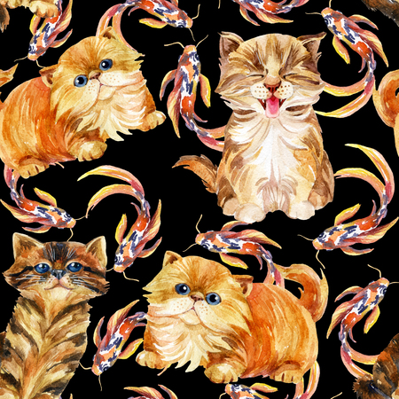 longhaired: Kitten seamless pattern. Long tabby cats and koi fishes. Baby cat on white background