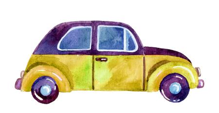 水彩の車、手描きのイラスト。