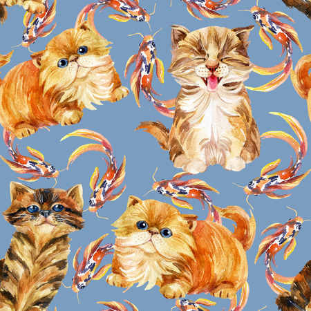 longhaired: Kitten seamless pattern. Long tabby cats and koi fishes. Baby cat on blue background Stock Photo