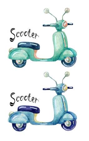 watercolor scooter set, hand painted vintage  illustration Stock Photo