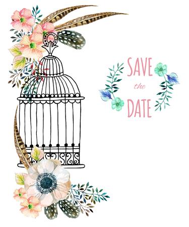 Carte aquarelle avec cage à oiseaux et fleurs .. Illustration peinte à la main avec des anémones, des herbes, des plumes et des cages à oiseaux