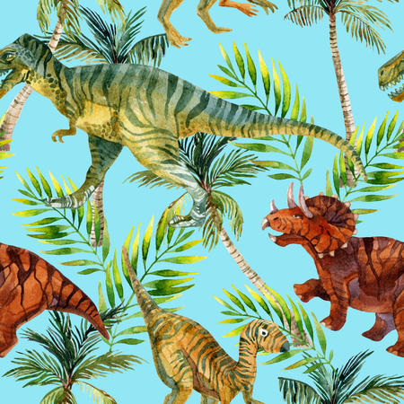 Dinosaur watercolor seamless pattern. Dinosaurs in jungles. Hand painted illustration Zdjęcie Seryjne