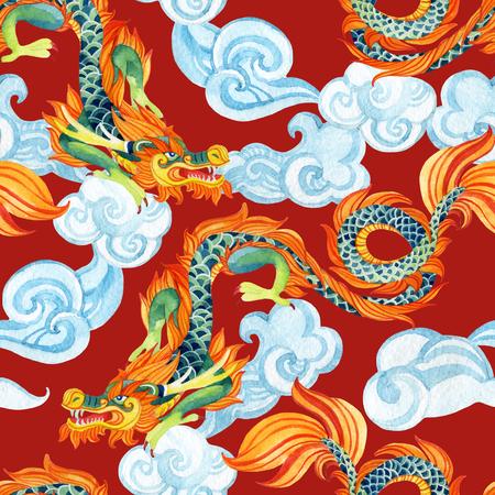 중국 드래곤 원활한 패턴입니다. 용의 전통적인 상징. 수채화 손으로 그림을 그렸습니다. 스톡 콘텐츠