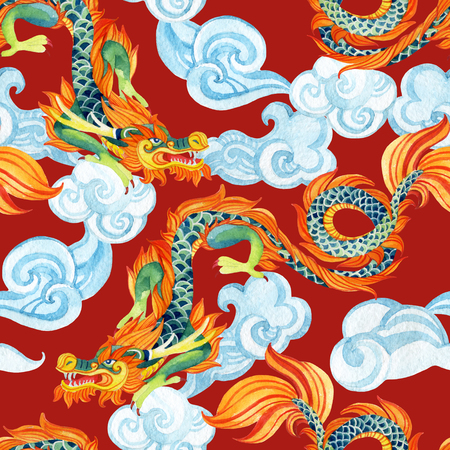 Chinese Dragon seamless pattern. Traditional symbol of dragon. Watercolor hand painted illustration. Фото со стока