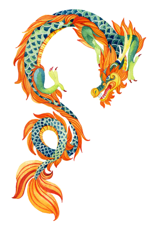 Chinese Dragon. Traditional symbol of dragon. Watercolor hand painted illustration. Stock Photo