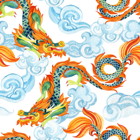 allegory painting: Chinese Dragon seamless pattern. Traditional symbol of dragon. Watercolor hand painted illustration. Stock Photo