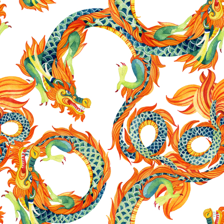 japanese ethnicity: Chinese Dragon seamless pattern. Traditional symbol of dragon. Watercolor hand painted illustration. Stock Photo