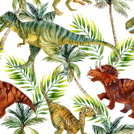 恐竜水彩シームレス パターン。ジャングルの中で恐竜。手描きのイラスト 写真素材 - 81759730