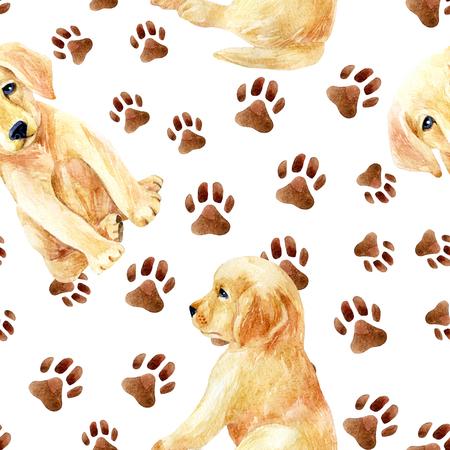 ラブラドル ・ レトリーバー犬子犬シームレス パターン。フット プリントのかわいい子犬。手描き水彩イラストの犬。