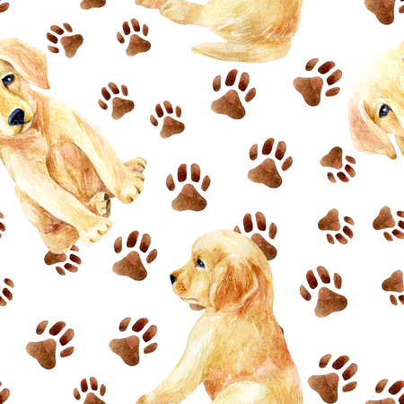 Labrador retriever puppy seamless pattern. Cute puppies with footprints. Hand painted dogs watercolor illustration.