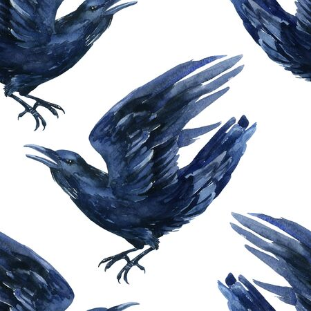 hallow: Raven watercolor illustration. Flying black raven seamless pattern. Stock Photo