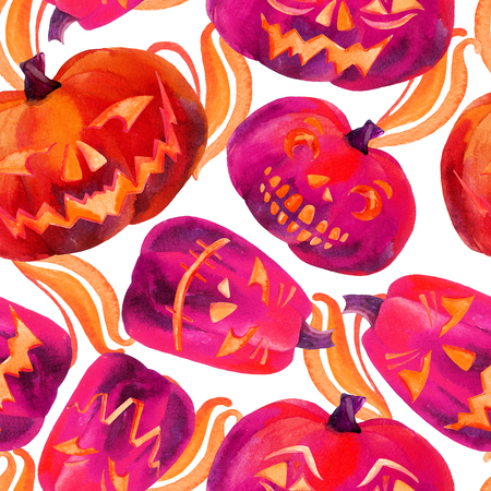 Pumpkin seamless pattern. Watercolor carved pumpkins. Jack-o-lanterns background. Hand drawn illustration. Stock Photo