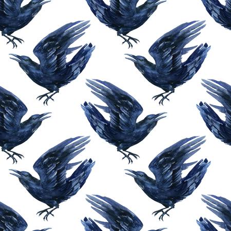 gazing: Raven watercolor illustration. Flying black raven seamless pattern. Stock Photo
