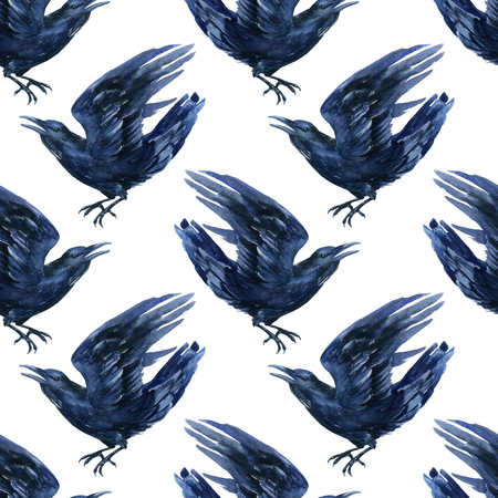 Raven watercolor illustration. Flying black raven seamless pattern. Stock Photo