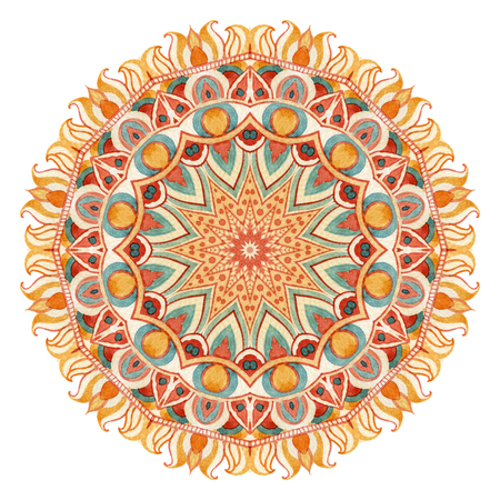 Watercolor mandala  with sacred geometry. Hand painted pattern with all seeing eye elements. Ornate lace pattern for design in tribal and boho styles. Mysterious lace isolated on white background.