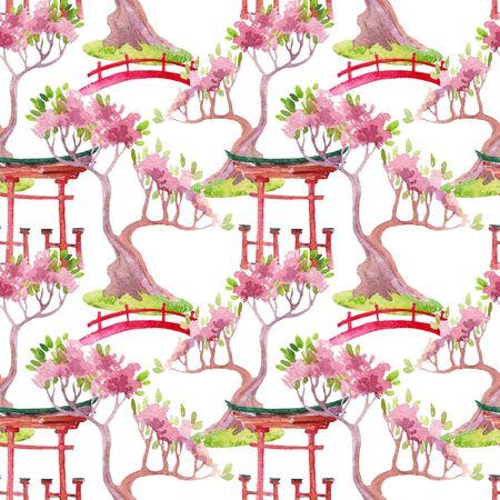 Watercolor bonsai tree, footbridge and shrine gate illustration. Hand painted japanese seamless pattern