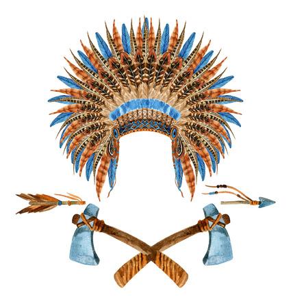 ネイティブ アメリカンの頭飾り。羽をつけられた戦争のボンネット。水彩のインド戦争のボンネット。手描きのイラスト