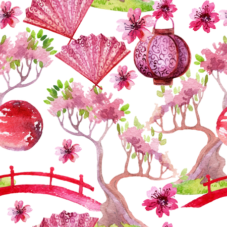 japanese garden: Watercolor bonsai tree with footbridge and cherry blooming. Hand painted japanese seamless pattern