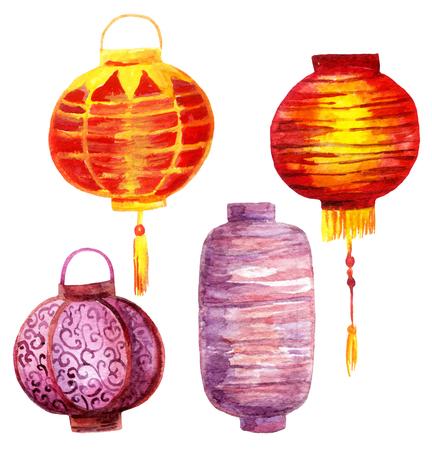 Conjunto de lanternas de aquarela. Lanternas de papel asiático pintadas à mão Foto de archivo - 81761419