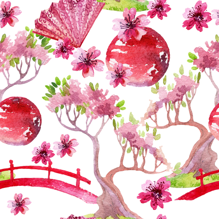 Watercolor bonsai tree with footbridge and cherry blooming. Hand painted japanese seamless pattern