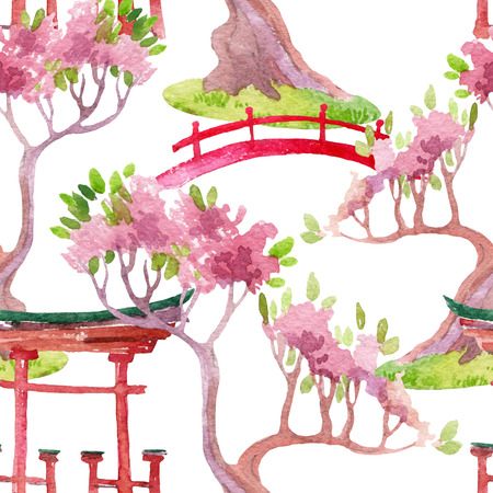 Watercolor bonsai tree, footbridge and shrine gate illustration. Hand painted japanese seamless pattern
