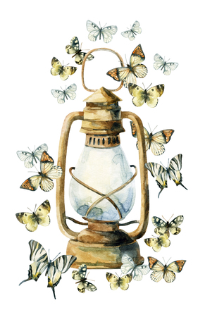 Watercolor vintage lamp with butterfly on white background. Colorful butterfly and rusty lamp. Watercolor art illustration with rustic and boho elements. Stock Photo