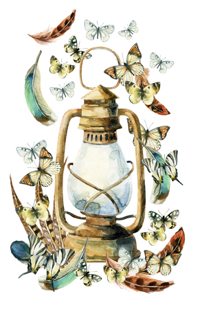 Watercolor vintage lamp with bird feathers and butterfly on white background. Colorful feathers, rusty lamp and butterfly. Watercolor art illustration with rustic and boho elements.