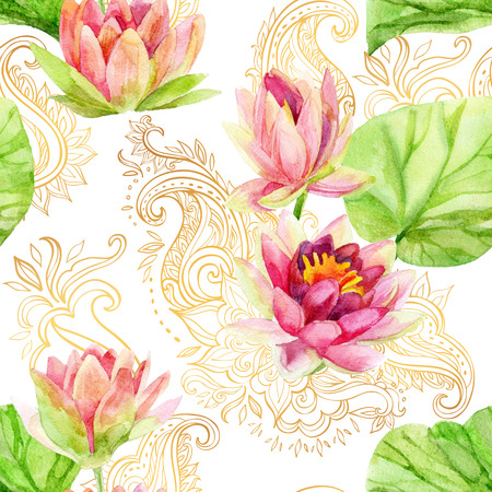 watercolor lotus flower on golden ornament. Watercolor flowers on indian paisley seamless pattern. Hand painted illustration on white background