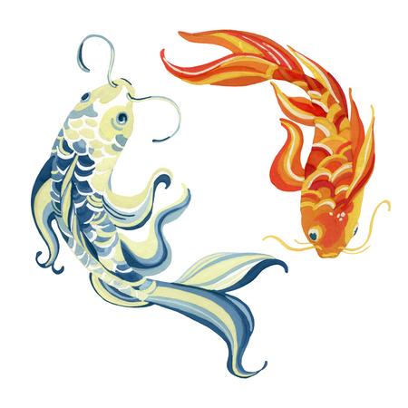 水彩アジア koi の魚。陰と陽の概念。手描きのイラスト