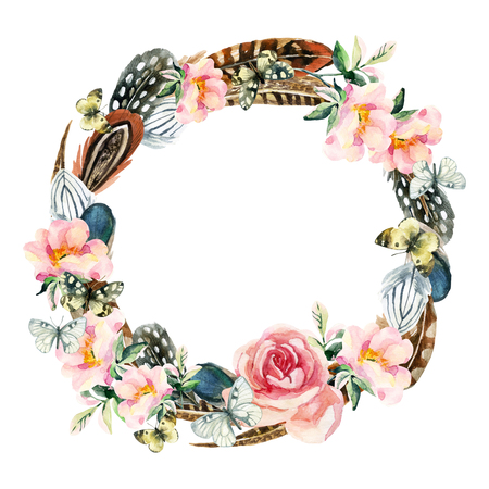 Watercolor bird feathers, briar flowers and butterfly wreath isolated on white background. Colorful feather, dog roses wreath and butterfly. Watercolor art illustration with floral and boho elements.